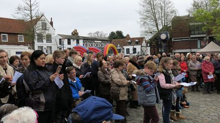 Hitchin's united service in Market Place on Good Friday. Picture: Sam Hallas
