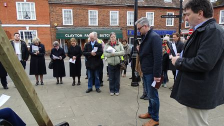 Potton's united service in the Market Square on Good Friday. Picture: Dave Thompson