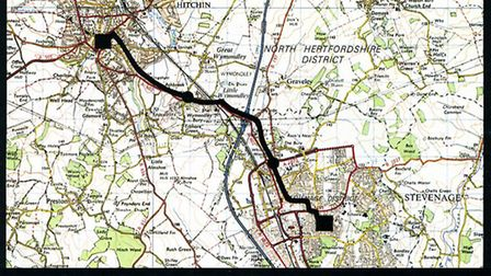 Route of 140Mbit/second optical fibre system which carried telecom traffic between the towns of Hitc
