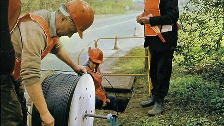 Optical fibre cable being installed between Hitchin and Stevenage. Photo: Courtesy of Standard Telec
