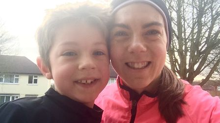 Paula Holm with her son Jonah, who has now fully recovered.