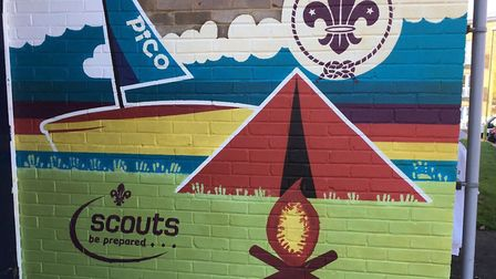 The mural painted by the apprentices on the Scout hit wall
