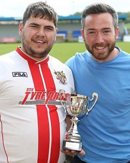 Stevenage Supporters Association FC's Keith Bell, left, with Ben Cole.