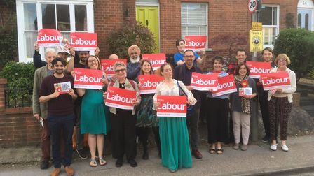 Labour Party supporters with John Hayes. Picture: Layth Yousif