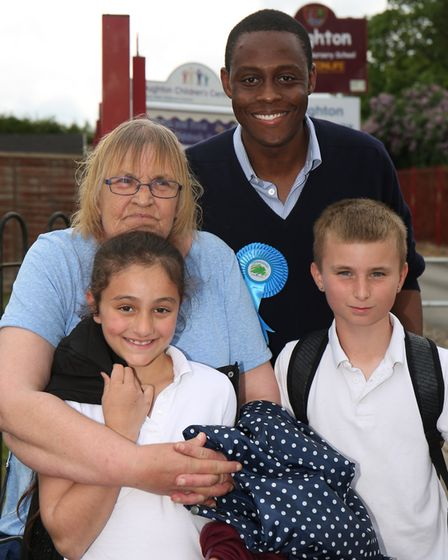 Hitchin and Harpenden conservative candidate Bim Afolami with Jean Deller, Miah, 7 and Michael, 11 o