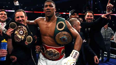 Anthony Joshua after his victory over Wladimir Klitschko in the IBF, WBA and IBO Heavyweight World T