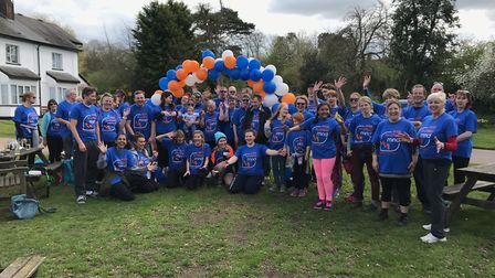 Letchworth Walks to D'Feet MND walkers outside The Fox at Willian. Picture: Courtesy of Claire Pedri
