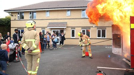 A chip pan fire demonstration at Baldock fire station open day. Picture: Danny Loo