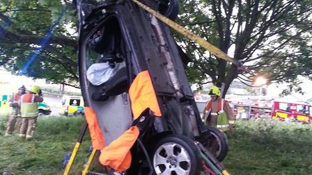 The car after the crash near the Biggleswade North roundabout of the A1. Picture: Bedfordshire Fire