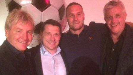 Baldock Town player-manager Luke Gregory, second right, with West Ham United legends Frank McAvennie