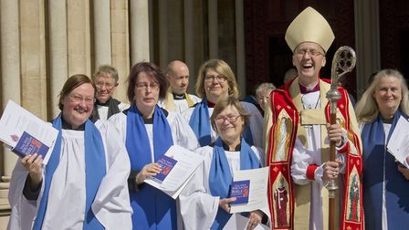 Newly licensed St Mary's of Baldock reader Katrina Nice, far left, after the ceremony at St Albans C