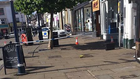 The police cordon in Hitchin's Market Place this morning. Picture: Amber Johnson