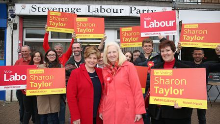 The shadow foreign secretary Emily Thornberry with Stevenage Labour candidate Sharon Taylor outside