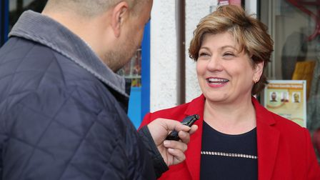 The Comet's Layth Yousif speaks to the shadow foreign secretary Emily Thornberry outside the Labour