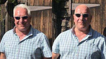 Keith East before and after his headshave on Sunday in aid of Cancer Research UK. Picture: Robert He