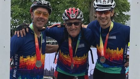 Ken Geggus, Steve Bishop and Steve West with their Dulux Trade London Revolution medals. Picture: Co