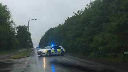 Police have closed a stretch of Gresley Way in Stevenage after a four-car smash.