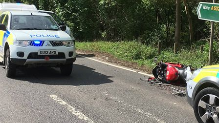 The scene after the motorcycle crash on the A602 near Stevenage. Picture: East Herts Rural Police