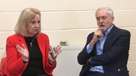 Jeremy Corbyn chatting to Sharon Taylor. Picture: Martin Elvery