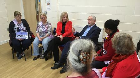 Jeremy Corbyn and Sharon Taylor with members of the Women Against State Pension in Equality campaign