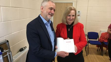 Jeremy Corbyn with Sharon Taylor at Hampson Park Community Centre. Picture: Martin Elvery