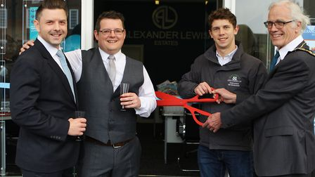 Tom and outgoing council chairman John Booth open Alexander Lewis Estate Agents with owners Glenn Th