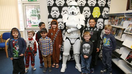 Children at Hitchin Library meet a storm trooper. Picture: Danny Loo