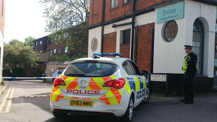 The police cordon in Letchworth, where a bomb disposal unit dealt with what was thought to be an old
