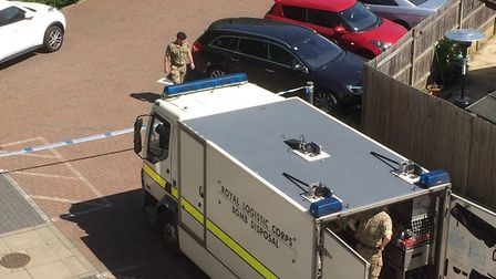 The bomb disposal team from the Royal Logistics Corps at the scene today. Picture: Howard Cottage Ho