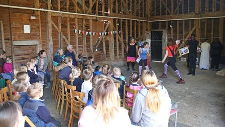 North Hertfordshire College students perform for visitors to Standalone Farm as part of 'Fun at the