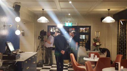 David Grossman prepares to broadcast live on BBC Newsnight from The Cromwell Hotel