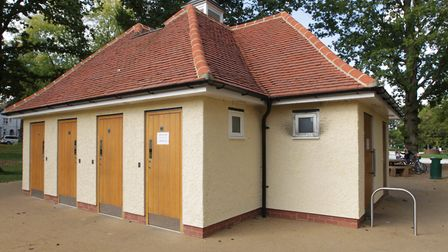 The public toilets at Howard Park in Letchworth, where police and firefighters forced their way into