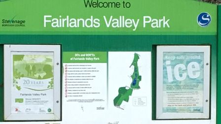 Fairlands Valley Park, where travellers thought by police to be French have pitched up.