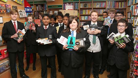 Fearnhill years 7, 8, 9 and 10 pupils on a bookshop spending spree at David's Bookshop after being a