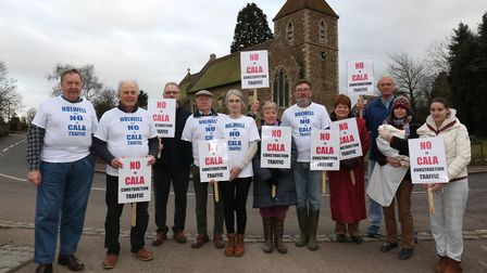 Members of the Holwell Against CALA Traffic Action Group protest in February. Picture: Danny Loo