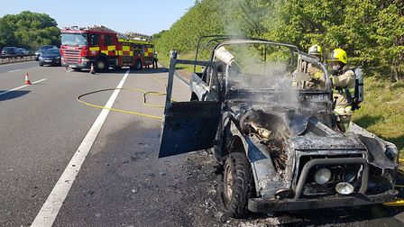The scene on the A1(M) after the car fire between Letchworth and Stevenage. Picture: Hitchin fire st