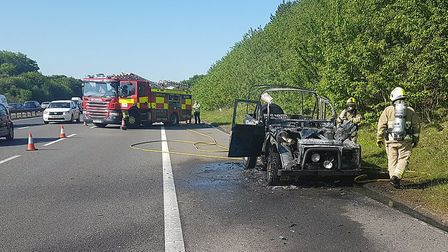 The scene on the A1(M) after the car fire between Letchworth and Stevenage. Picture: @roadpoliceBCH