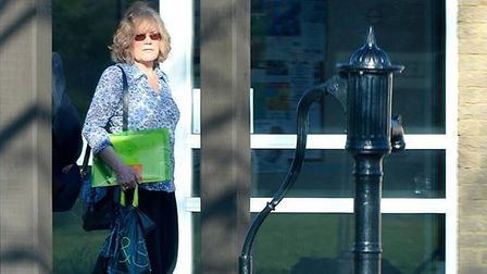 Elsie Hare leaving the Arlesey Town Council offices after her disciplinary hearing on April 21, 2015