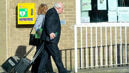 Elsie Hare and Tony Hare leaving the Arlesey Town Council offices after her disciplinary hearing on