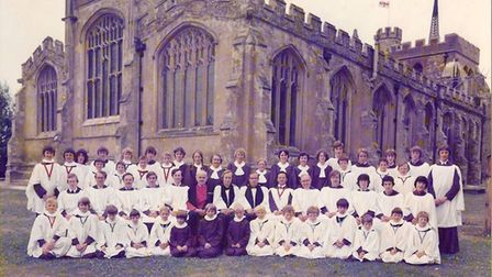 The St Mary's Church choir in about 1978, including Andrew Weight - second from right, middle row. F