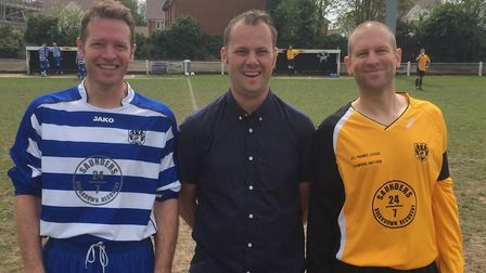 Gary Hall, Barry Rainbow and Stuart Lee at the football day in aid of Get Kids Going. Picture: Barry