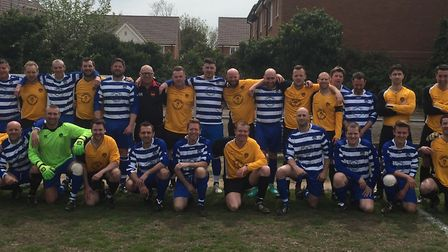 The teams at Barry Rainbow's football day at Stotfold FC in aid of Get Kids Going. Picture: Barry Ra
