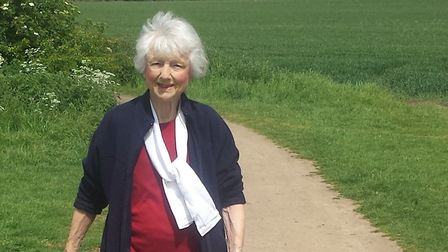 Joyce Doel during the Rotary fundraising walk around the Greenway on Sunday. Picture: Anna Priestley