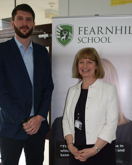Professional basketball player and former Fearnhill pupil Zak Wells with head Liz Ellis. Picture: Fe