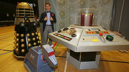 A Dr Who fan poses with a Dalek, K-9 and the TARDIS at the Stevenage Comicon event. Picture: Danny L