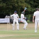 Jonny Harris batting for Hitchin gets out as Knebworth successfully appeal.Picture: Melissa Page.