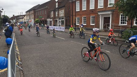 Youngsters taking part in the Junior Sportiv event during the Tour Series cycling event in Stevenage