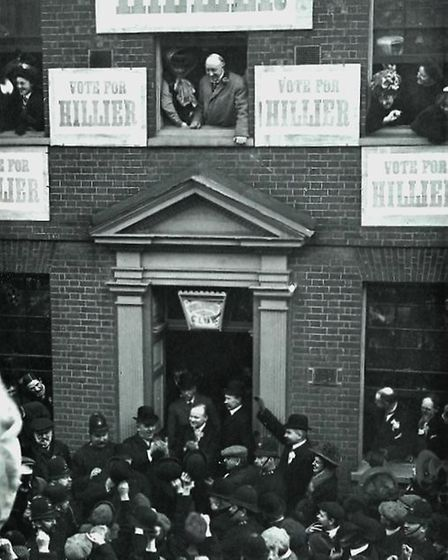 Celebrations at the Conservative Club in Hitchin's Sun Street after Dr Alfred Hillier's election vic