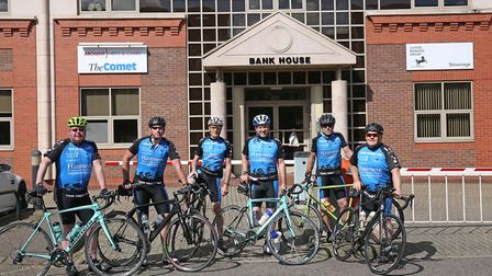The Twin Towns 1000 team outside Bank House on their way to France. Picture: Danny Loo