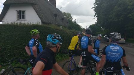 Twin Towns riders during their 82 mile ride from Stevenage to Harwich